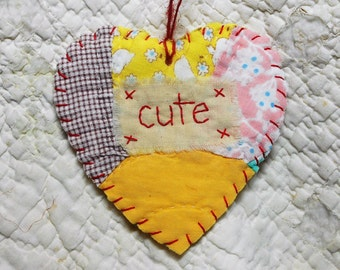 VALENTINE - Wordz From the Heart Snippet Ornament - CUTE - Stitched From Recycled Vintage Quilt Piece