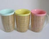 Vintage Raffia Ware Tall Coffee Cups Mugs Pink Blue Yellow