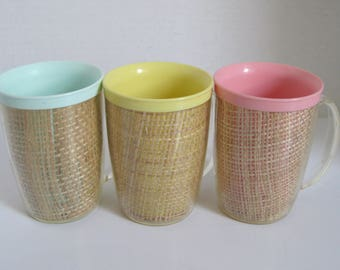 Vintage Raffia Ware Tall Coffee Cups Mugs Pink Blue Yellow