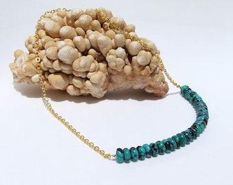 Turquoise Necklace, chain necklace, blue stone necklace, turquoise beaded, December birthstone