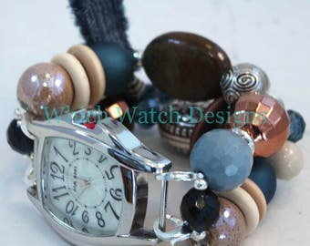 Shabby Chic Denim.. Blue, Cream and Brown Chunky Interchangeable Beaded Watch Band