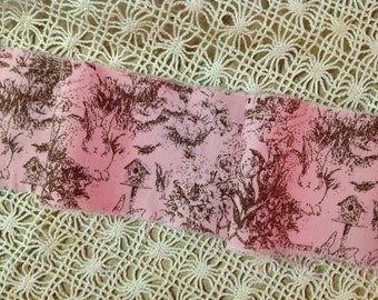 French Country Toile - Brown on Pink
