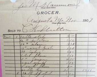 Group of 4 Antique 1907 Hand Written Grocery Invoices, Letterheads, Food Products, Prices, Augusta, ME, 1907