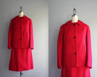 1960s Suit / Vintage 60s Red Wool Suit / Sixties Mod Roger Nelson English Wool Suit