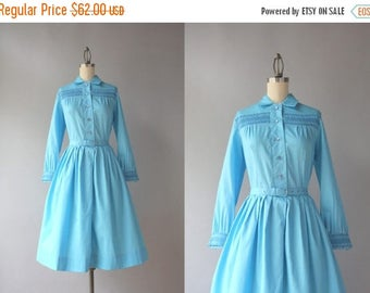 STOREWIDE SALE Vintage 60s Dress / Early 1960s Pleated Blue Day Dress / 60s Frederick's of Hollywood Cotton Dress XS S Small