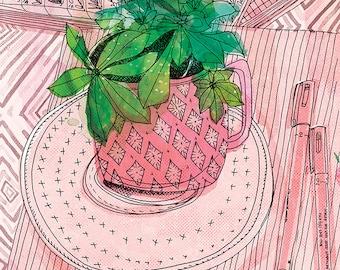 My Favourite Mug Archival Wall Art Print Illustration