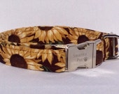 Harvest Sunflowers - Beautiful Fall Dog Collar by Swanky Pet