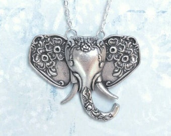 New necklace floral elephant beautiful silver faux Victorian spoons cute big statement