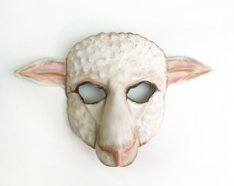 White Sheep Leather Mask white with pink brown black accents