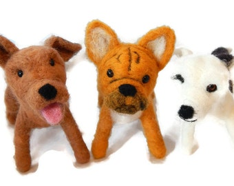 THREE Custom needle felted Dogs  - needle felted original Puppy soft sculpture -  small size - French bulldog - Crossbreed sculpture