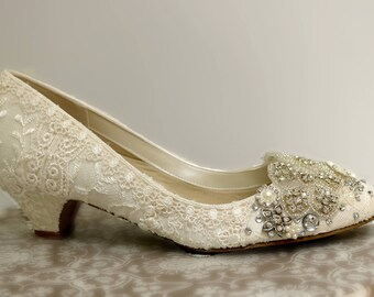 Low Heel Wedding Shoes. Ivory Lace Wedding Shoes . Vintage Lace Bridal Shoes . Sparkling Wedding Shoes. Hand Embellished Shoes . Bridal Shoe