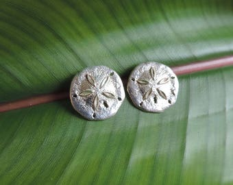 Vintage Sand Dollar Sterling Silver Post Earrings