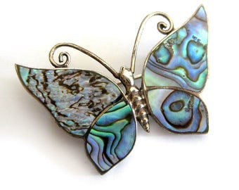 Vintage Butterfly Brooch / Sterling Silver Mother of Pearl / Abalone Butterfly 925 Silver Pin