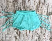 Organic Fringe Shorts- Aqua