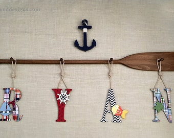 "58"" 4-Peg Painted or Stained Paddle Rack and Four 9"" Decorative Coastal Madras Baby Name Letters & Rope / Nautical Nursery Decor"