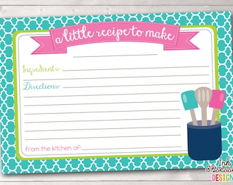Printable Recipe Card Design - Blue & Pink Kitchen Utensils - INSTANT DOWNLOAD