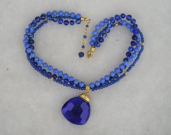 Lovely Multi Blue Glass Crystal Drop Pendant Necklace