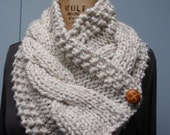 Hand Knit Cable Bulky Neck Cowl Scarf with Buttons Wheat Tweed