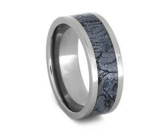 Mokume Gane Wedding Band, Titanium Ring With Mokume Composite Inlay, Fantasy Jewelry