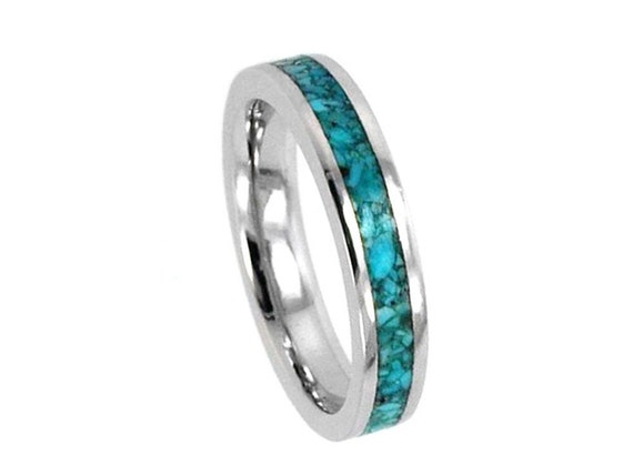 Womens White Gold Ring with Turquoise Stone Inlay, 10k White Gold Jewelry for Women