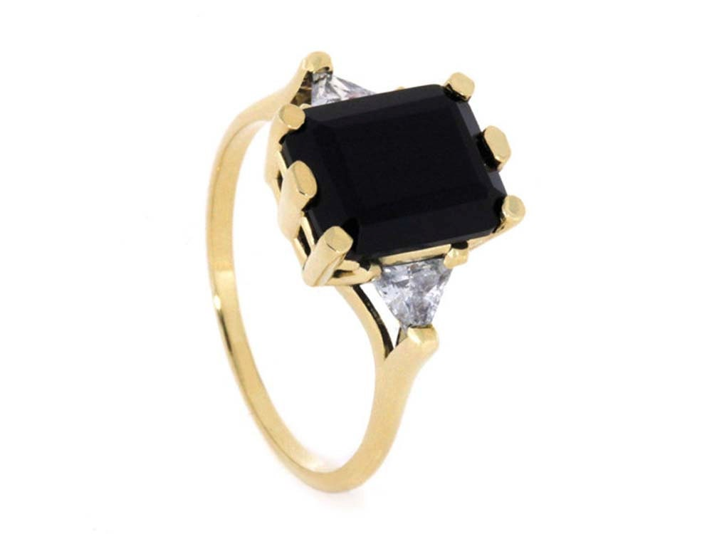 Yellow Gold Onyx Engagement Ring Vintage Style Gold