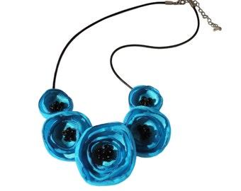 Turquoise Fabric Poppy Necklace
