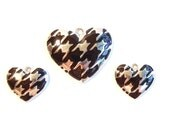 Set of Silver-tone Herringbone Pattern Heart Pendant Matching Charms