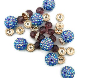 Set of Mixed Beads Iridescent Blue and Purple and Gold-tone