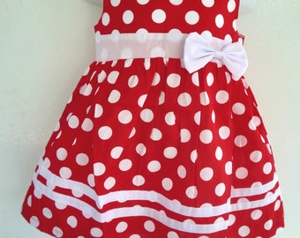 Red Dots and White Dress Inspired in Minnie Mouse
