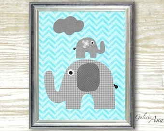 Chevron blue and gray Nursery art prints - baby nursery decor - nursery wall art - elephant nursery - You and Me print
