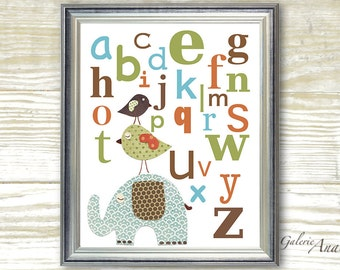 Kids art Alphabet nursery decor - baby nursery print kids room decor - children art - Elephant Birds - Best Friends Alphabet print