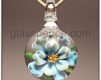 Blue Glass Flower Pendant boro jewelry lampwork focal - Glass Peace glass jewelry (6571)