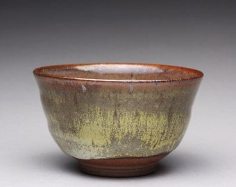 handmade pottery tea bowl, ceramic bowl, teacup with wood ash glazes