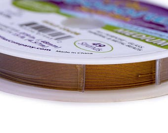 Pro Econoflex Beading Wire .019 inch Gold Color 43589 (15 feet) Medium  Soft Flex Wire, Gold Econoflex, Jewelry Wire Stainless Steel Wire