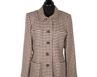VINTAGE White and Brown HOUNDSTOOTH Pattern JACKET Blazer