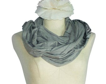 Japanese Oni Head, Heather Grey Organic Bamboo Screen Printed Infinity Scarf, Fall, Winter, Spring - Gifts for Him or Her