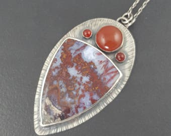 Red, White and Blue Jasper Necklace, sterling silver, boho, bohemian necklace, jasper necklace, carnelian, multi stone, michele grady