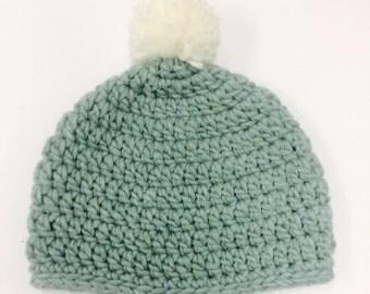 Crochet beanie in sea foam green