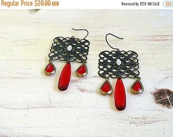 ON SALE Chandelier Earrings, Cranberry Red, Blood Red, Antique Cooper, Antique Brass,  Dangle and Drop, Dangle Earrings