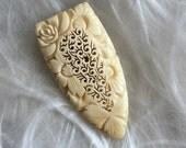 "Vintage Carved- Fur Clip- Dress Sash- Intricate Bone Carving- Tight Clip- Roses Sunflowers- Off White- Deep Design- Pierced Work- 2 1/2"""