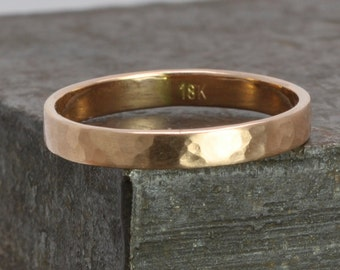 18K Rose Gold Wedding Band, 3mm Wide, Hammered Matte Gold Ring, Sea Babe Jewelry