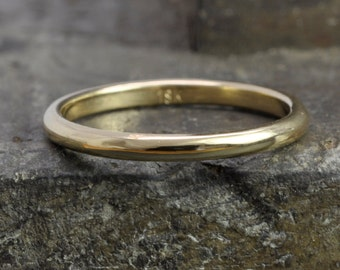 18k Yellow Gold Classic Style Ring, 2mm Half Round Dome Band or Wedding Ring, any size available