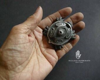 Dark Gray Taino Turtle Pin