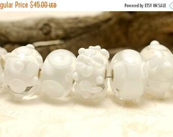 ON SALE 45% OFF Seven Transparent White Rondelle Beads - Handmade Glass Lampwork Bead Set 10202401
