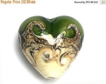 ON SALE 45% OFF Dark Green w/Dark Ivory Heart-11810205-Handmade Glass Lampwork Bead