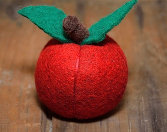 Delicious Red Apple - Felted Fruit Pincushion