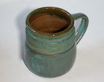 Turquoise  Green Ceramic  Mug Stein  in Stoneware Holds Two Cups One Pint  One of a Kind