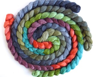 Colorway Collection, Merino/ Silk Roving (Top) - Handpainted Spinning or Felting Fiber, Lucky A.