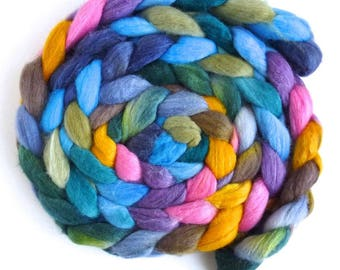 Merino/ Silk Roving (Top) - Handpainted Spinning or Felting Fiber, Watercolor Town