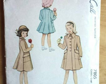 McCalls 7805 Vintage Girls Coat Sewing Pattern Size 3